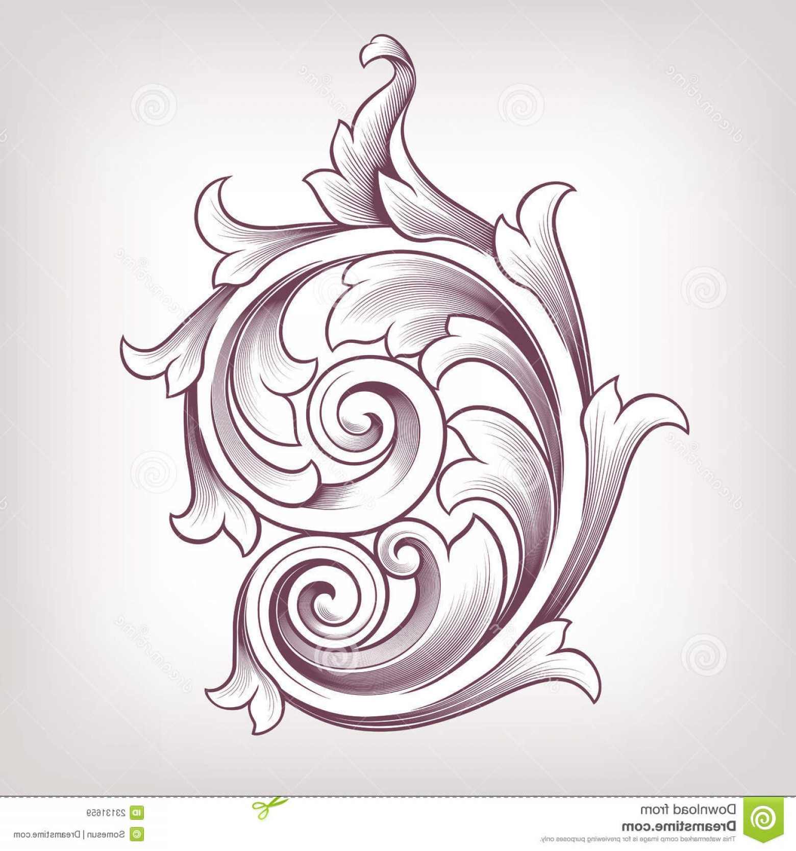 1560x1668 Royalty Free Stock Images Vintage Baroque Floral Scroll Design