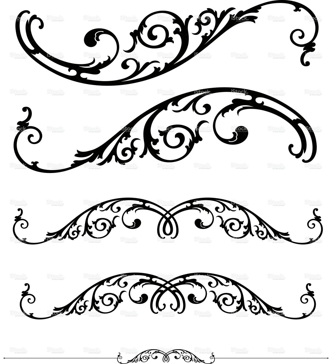 1128x1235 Set Of Ornate Scrolls And Ruledesign Ornament, Filigran