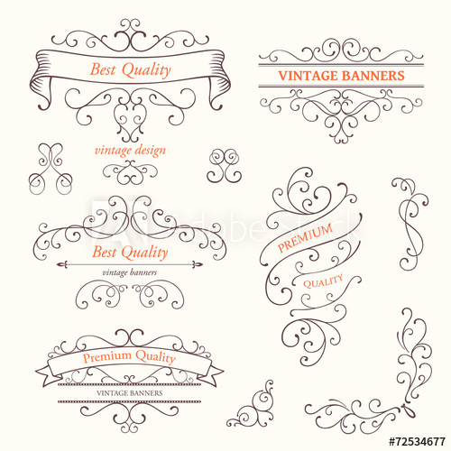 500x500 Vector Illustration Of Ornate Frames And Scroll Design Elements