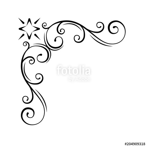 500x500 Decorative Swirl Floral Corner. Calligraphic Design Element,
