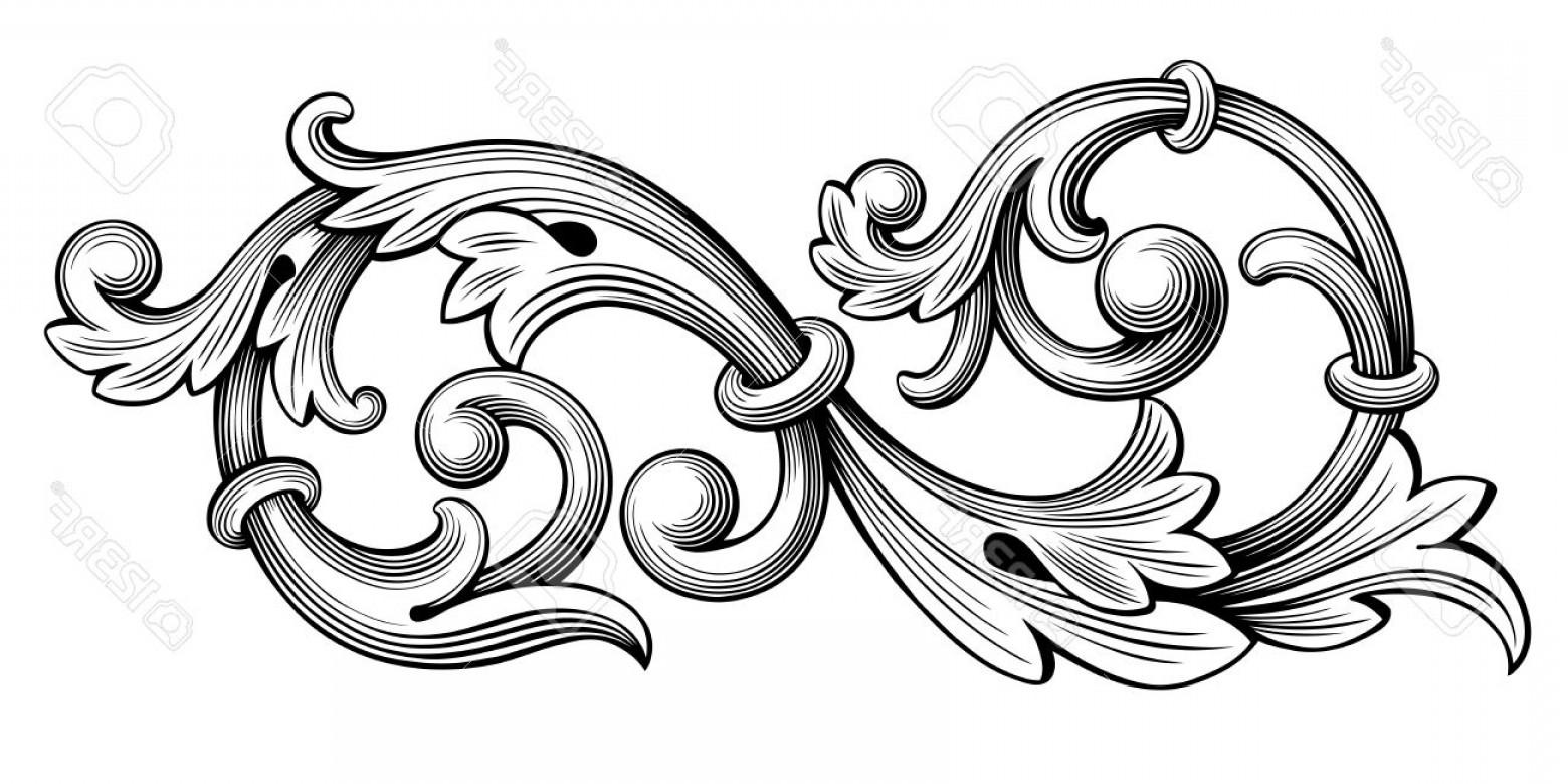1560x780 Photostock Vector Vintage Baroque Victorian Frame Border Monogram