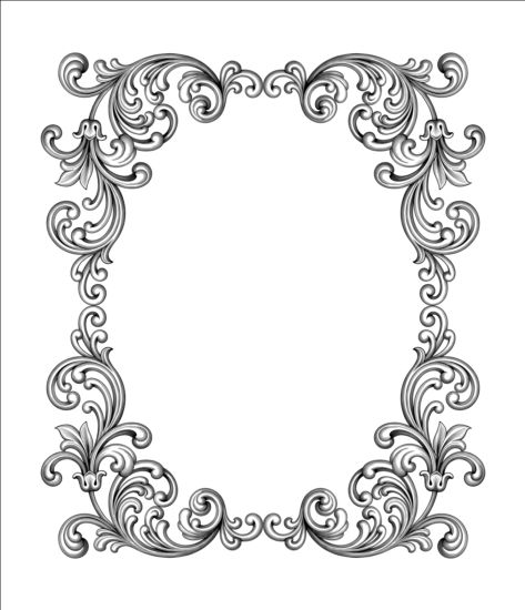 473x550 Baroque Scroll Frame Vector Free Download
