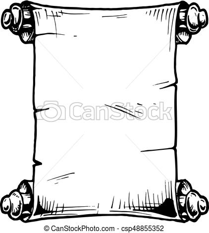 422x470 Illustration Of Old Scroll. Vector Hand Drawn Illustration Of Old