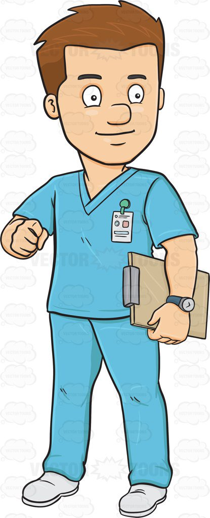 415x1024 A Male Nurse In Scrubs Holding A Clipboard Clipart By Vector Toons