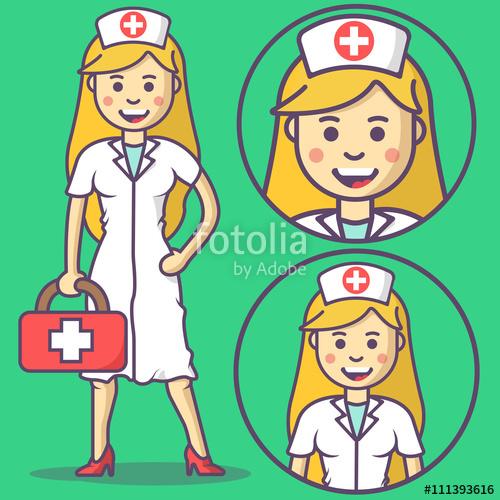 500x500 Cartoon Nurse In Scrubs And With Medical Kit. Vector Nurse Emoji
