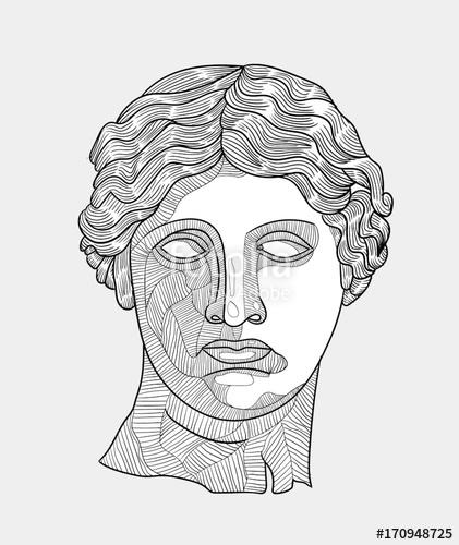 421x500 Classical Sculpture. Vector Illustration Hand Drawn. Venus