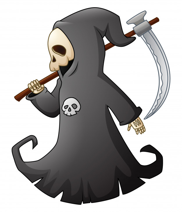 626x729 Vector Illustration Of Cartoon Grim Reaper With Scythe Vector