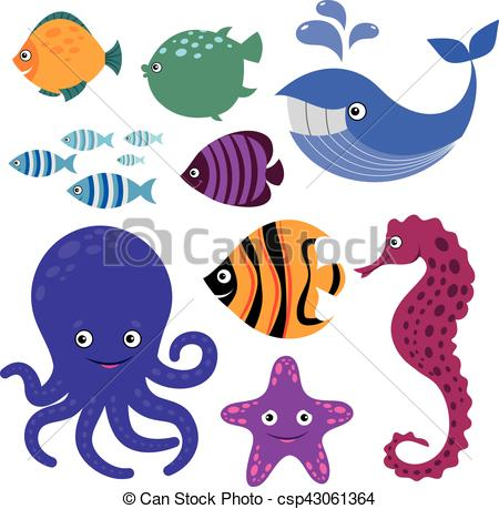 450x459 Cute Vector Sea Creatures. Cartoon Smiling Animals. Cute Vector