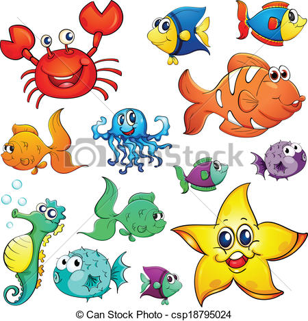 450x469 Different Sea Creatures. Illustration Of The Different Sea