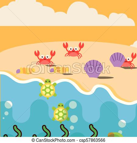 450x470 Sea Life Cartoon. Beach Crabs Clams And Turtles Ocean Sea Life