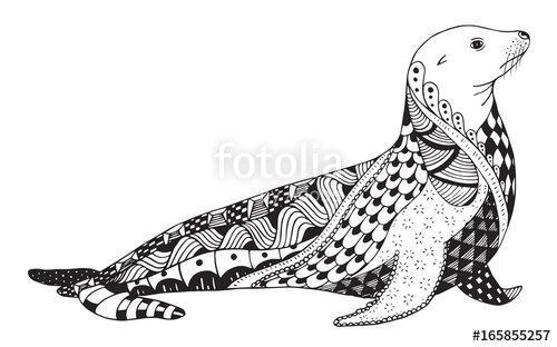 500x312 Sea Lion Zentangle Stylized, Seal, Vector, Illustration, Freehand