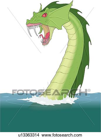 345x470 Sea Monster Clipart Vector Sea