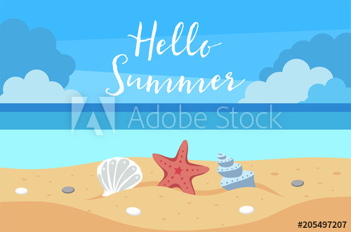 500x331 Hello Summer Background With Beach View, Sand, Sea Shells, Sea