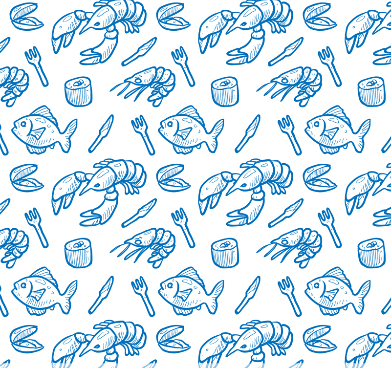 800x753 Seafood Seamless Blue Background Vector Seafood,seamless,blue