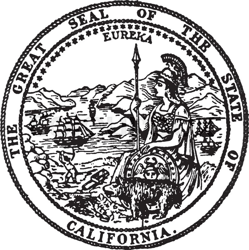798x800 The Great Seal Of The State Of California. The Seal Shows Eureka