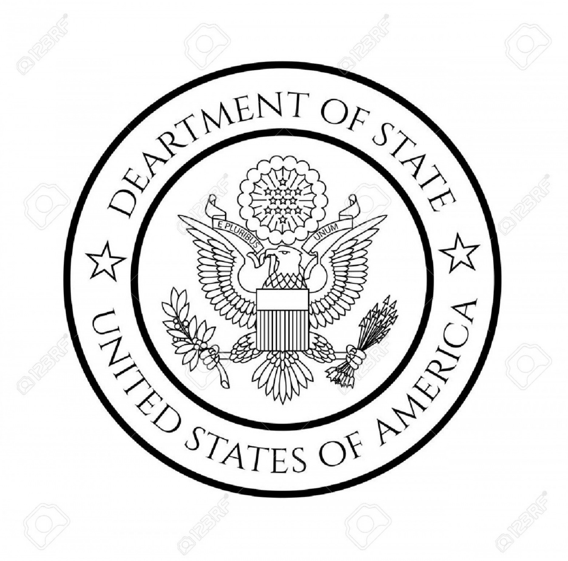 1872x1852 Photostock Vector Us Department Of State Seal Black On White
