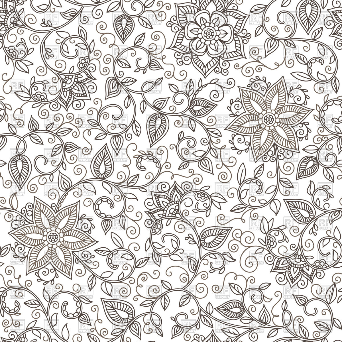 1200x1200 Seamless Floral Pattern Of Spirals, Swirls And Doodles Vector