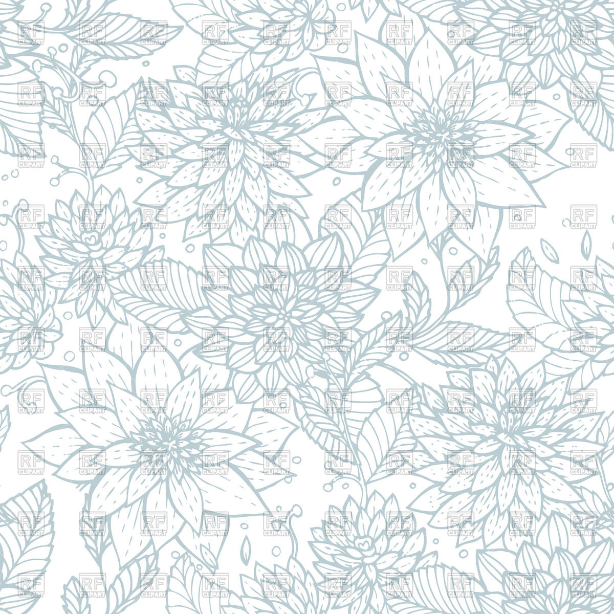 1200x1200 Seamless Floral Pattern With Flower Outlines Vector Image Vector