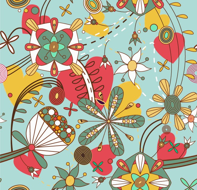 664x641 Vector Seamless Floral Pattern Background Free Vector Graphics