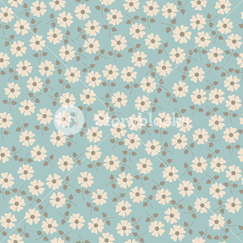 1000x1000 Vector Seamless Floral Pattern. Flowers Texture. Daisy. Royalty