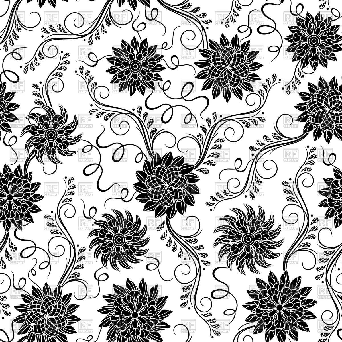 1200x1200 Black And White Seamless Floral Pattern Vector Image Vector