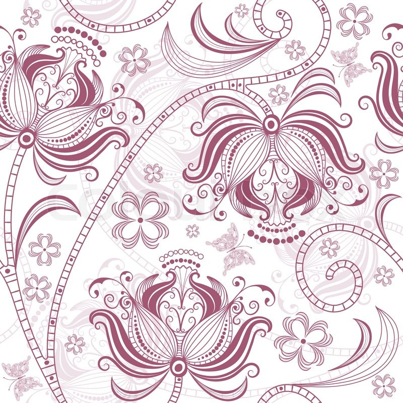 800x800 Burgundy Seamless Floral Pattern Stock Vector Colourbox