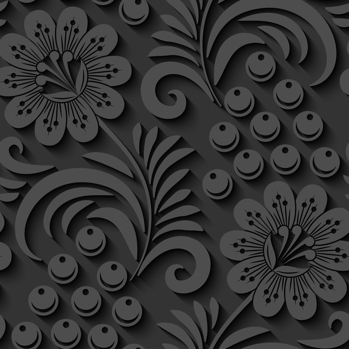 700x700 Elegant 3d Seamless Floral Pattern. Vector Illustration Wall Mural
