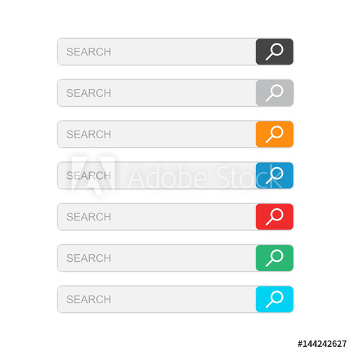 500x500 Search Bar Field. Set Vector Interface Elements With Search Button