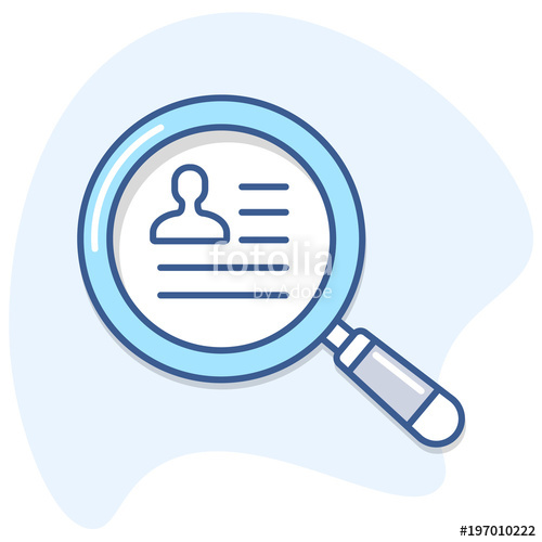 500x500 Human Resources Magnifying Glass And Employee Cv Search Vector