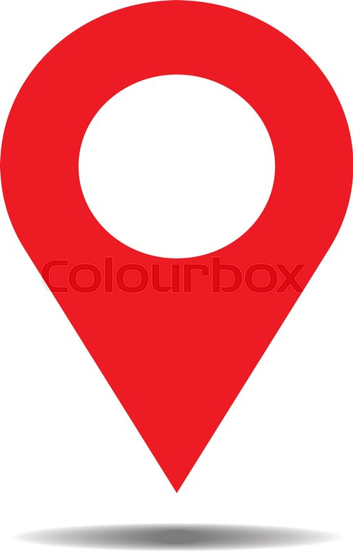 512x800 Location Red Icon Vector. Pin Sign Isolated On White Background