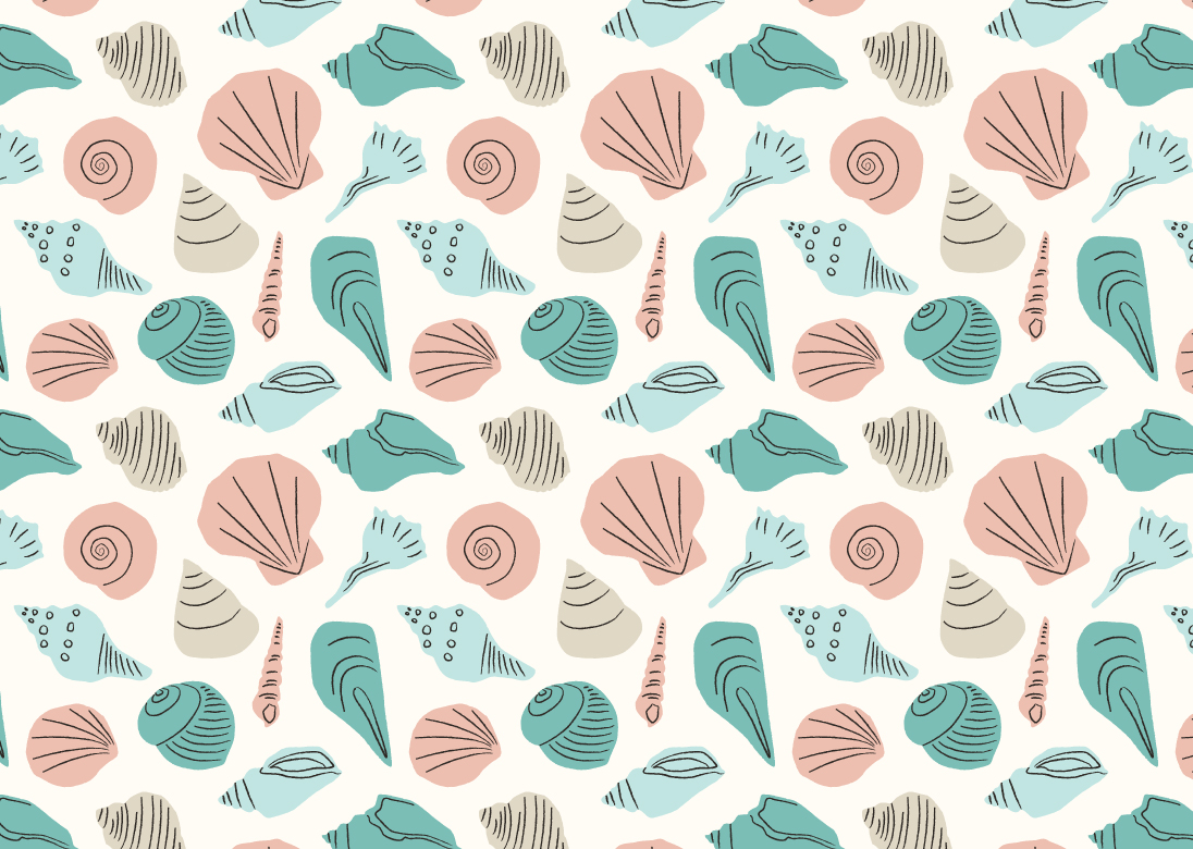 1096x780 Hand Drawn Seashell Repeat Pattern Vector Free Vector Download
