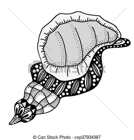 450x470 Hand Drawn Seashell. Aquatic Doodle Vector Illustration. Sketch