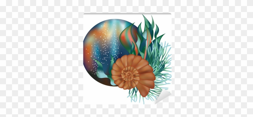 840x389 Underwater World Banner With Seashell, Vector Wall