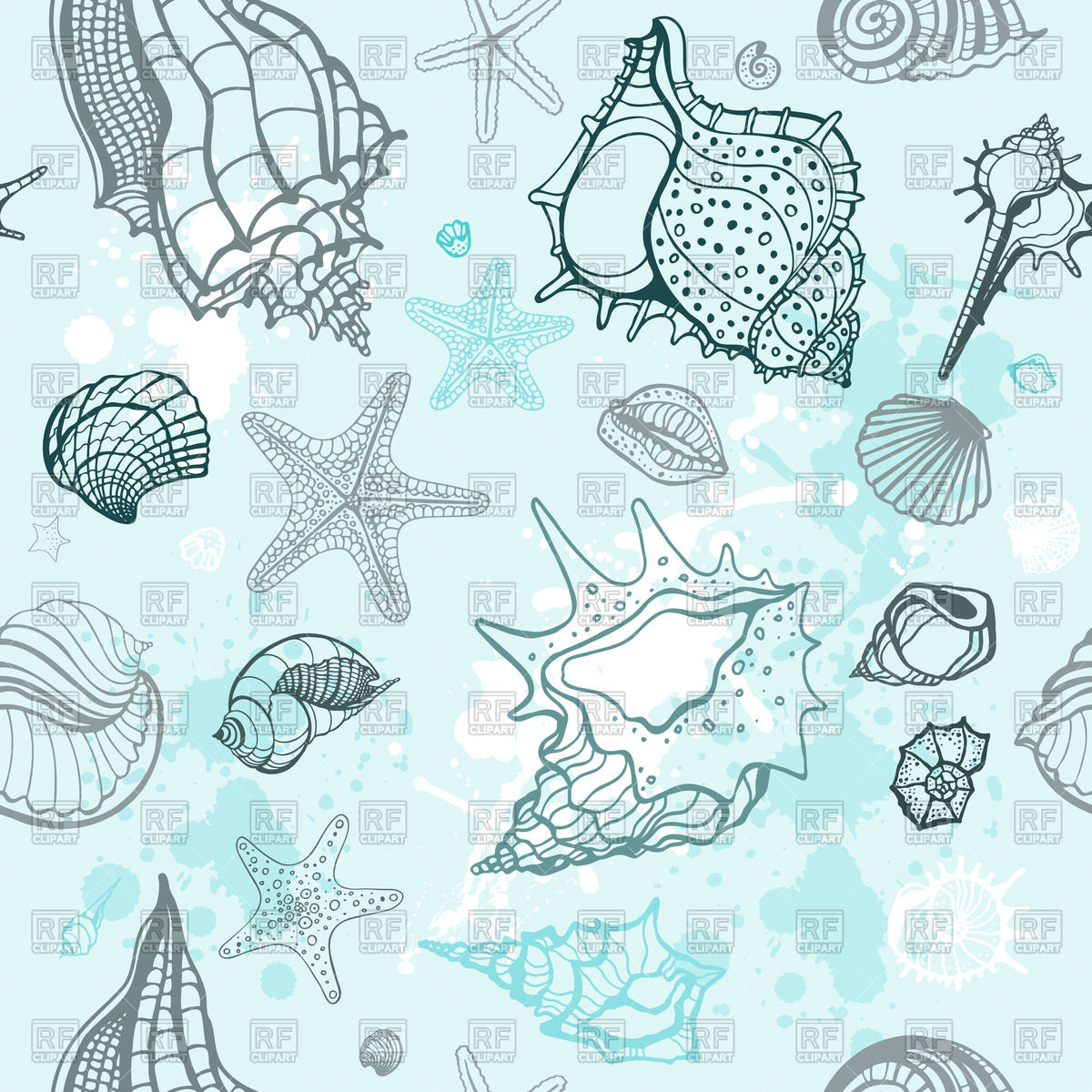 1200x1200 Blue Marine Background With Seashells Vector Image Vector