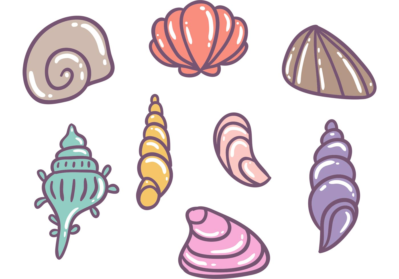1400x980 Conch Shell Free Vector Art