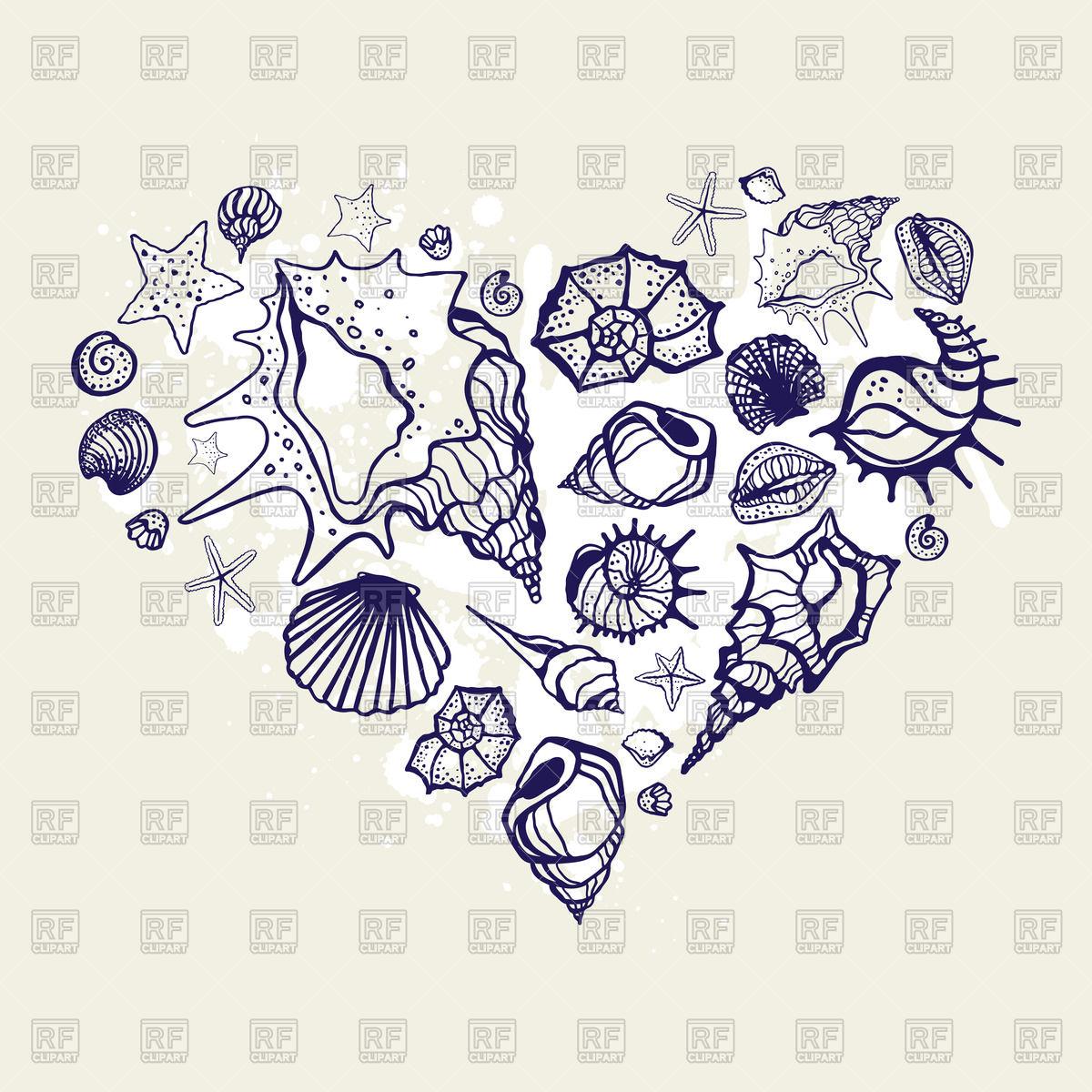 1200x1200 Heart Of Hand Drawn Shells Vector Image Vector Artwork Of