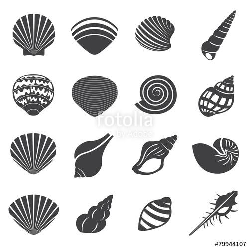 500x500 Sea Shell Flat Mono Icons Set Stock Image And Royalty Free Vector