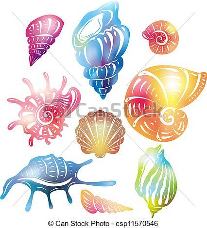 426x470 Seashells Clipart Colored Seashell Eps Vector Search Clip Art