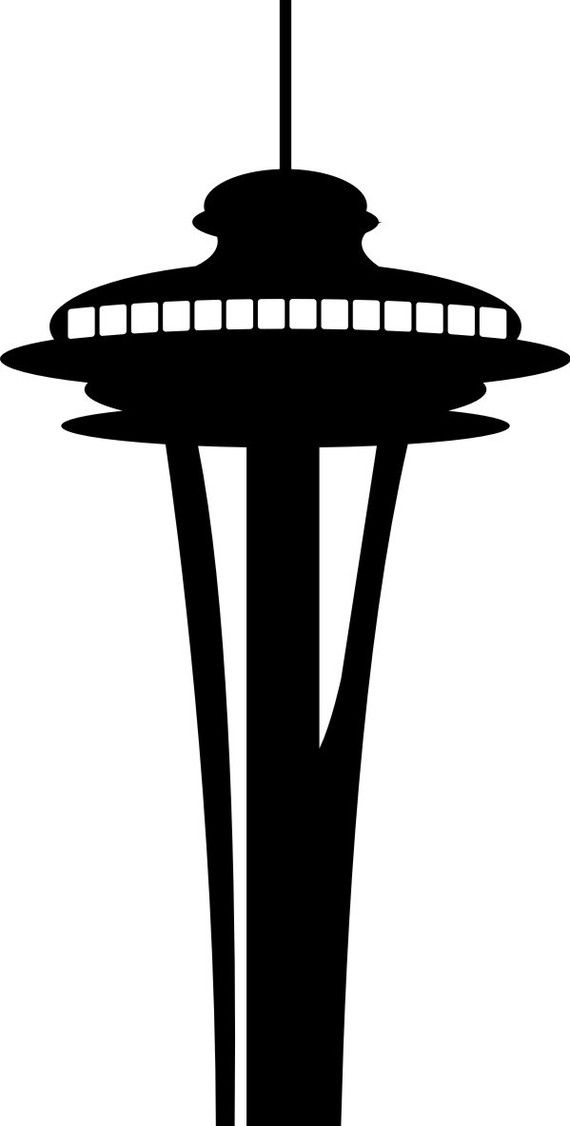 570x1126 Space Needle Silhouette Seattle Decal Seattle Skyline Space Needle