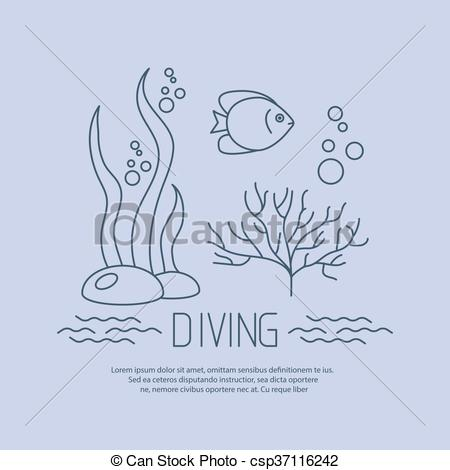450x470 Diving Icon With Fishs And Seaweed. Vector.