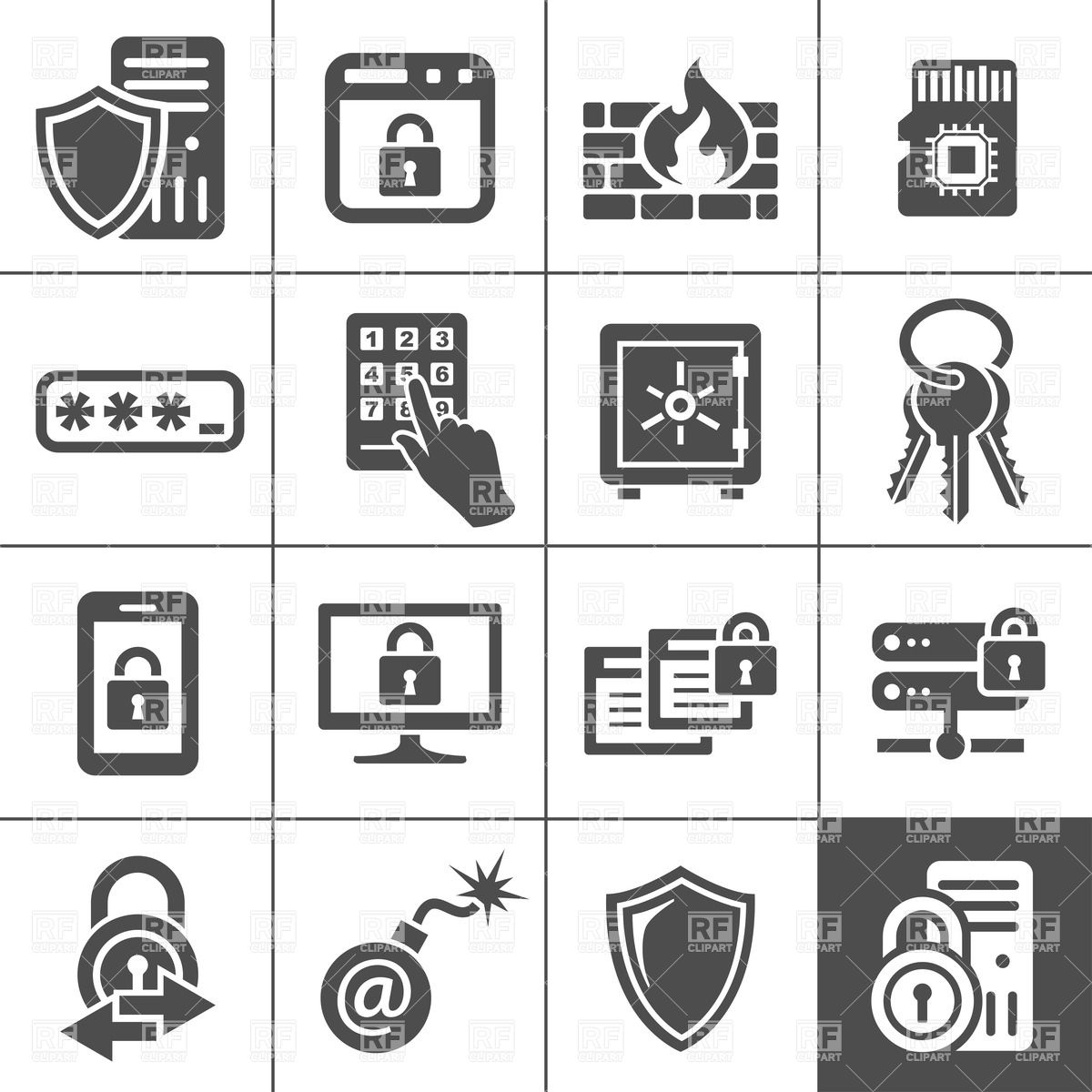 1200x1200 Information Technology Security Icons Vector Image Vector