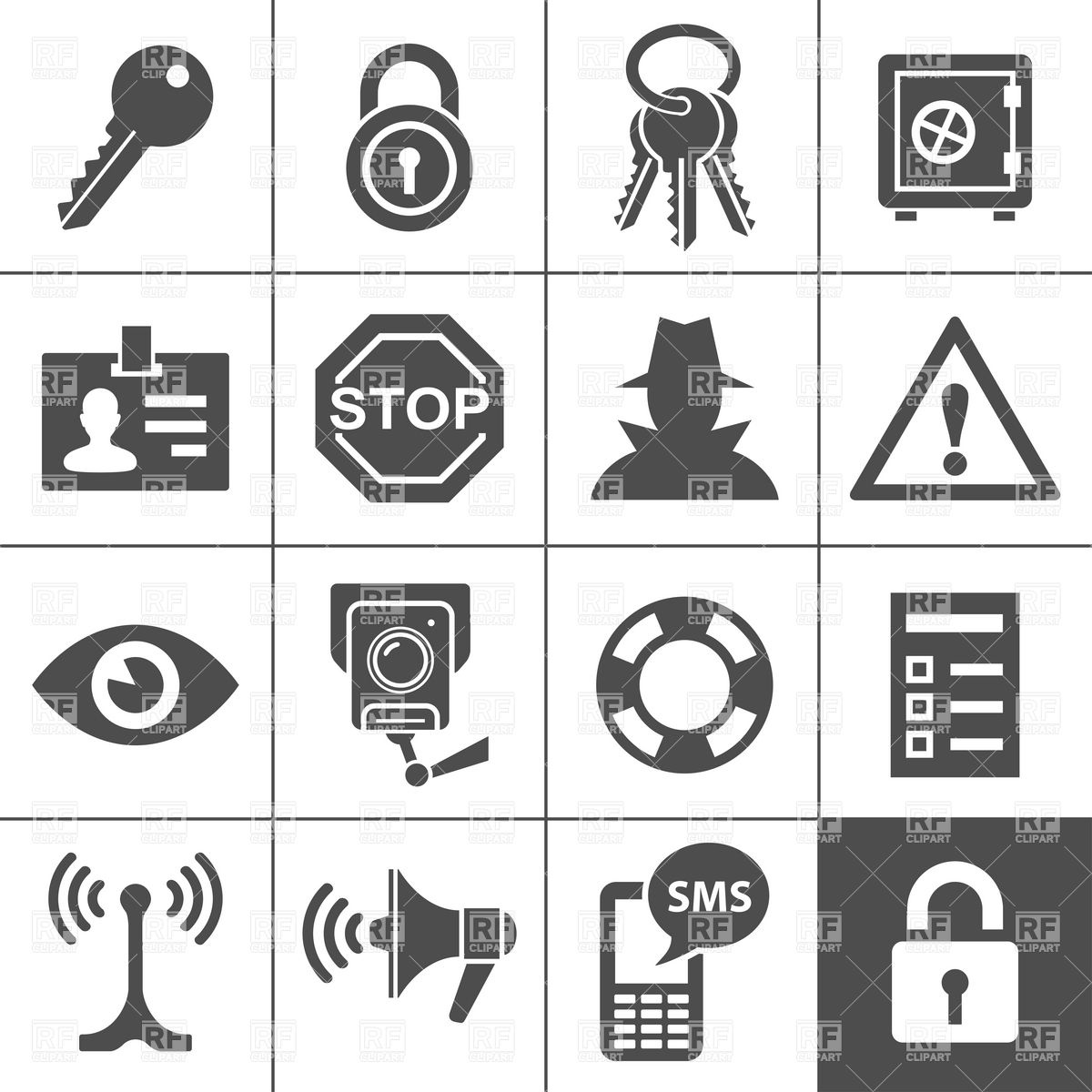 1200x1200 Security, Safety And Neighbourhood Watch Icons Vector Image