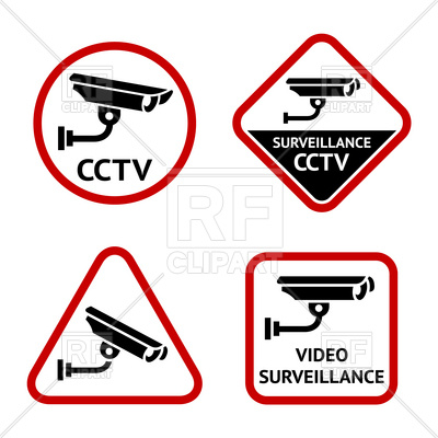 400x400 Set Of Warning Signs With Security Camera Vector Image Vector