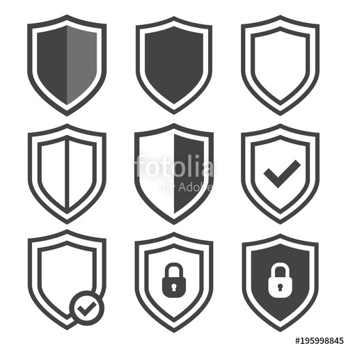 500x500 Vector Shield Icon Set. Security Vector Icons. Protection Logos