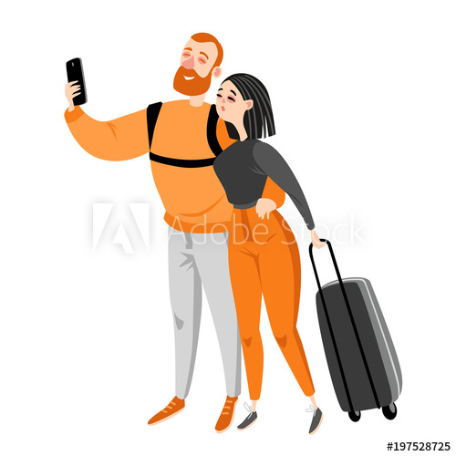 500x500 Happy Couple Travel Together. Couple Makes Selfie. Vector