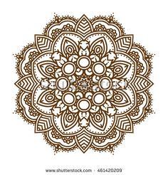 236x246 Mandala. Vector Ornament In Trendy Colors Rose Quartz And Serenity