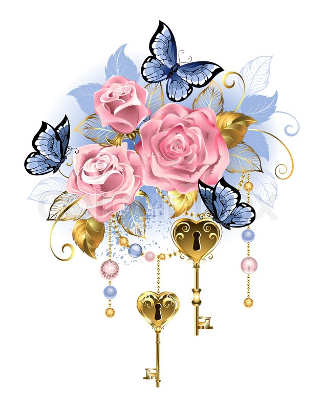 631x800 Antique Golden Keys With Pink Roses, Golden Leaves And Blue