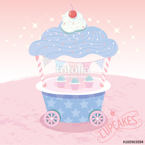 500x500 Vector Cupcakes Cart.rose Quartz And Serenity Background Colored