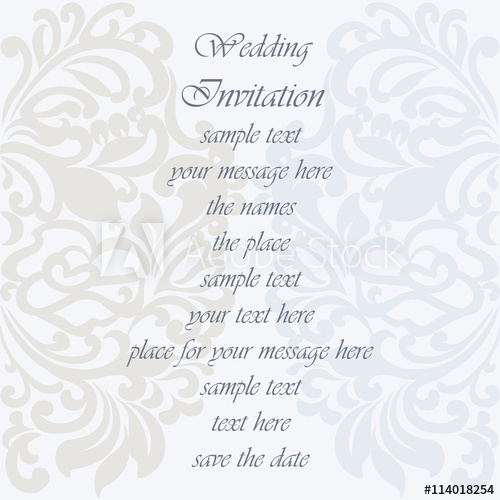 500x500 Wedding Invitation Card With Lace Ornament. Serenity And Silver