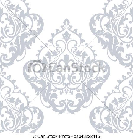 450x470 Damask Pattern Ornament In Serenity Blue Color. Vector... Vector